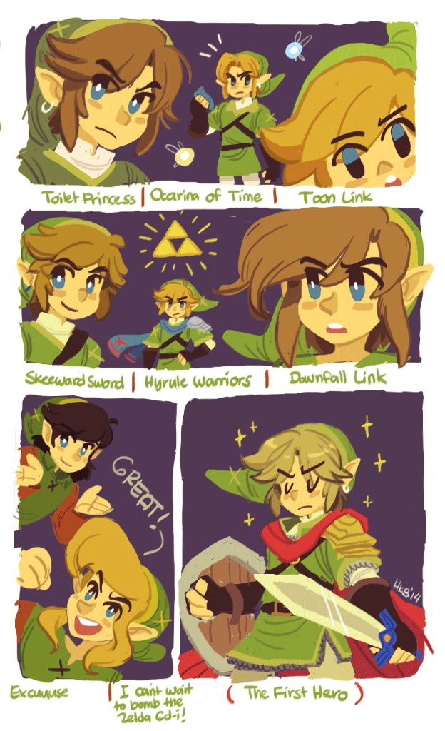 The Legend of Zelda, The Legend of Zelda: The Adventure of Link, A Link to the Past, Link's Awakening, Ocarina of Time, Majora's Mask, Oracle of Ages / Oracle of Seasons, Four Swords, The The Wind Waker, The Minish Cap, Twilight Princess, Phantom Hourglass, Spirit Tracks, Skyward Sword, The Legend of Zelda: A Link Between Worlds, and Hyrule Warriors / Link, Toon Link, Ravio, Navi, and Ciela