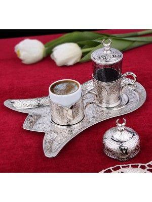 Osmanlı Motifli Lale Tepsili Tek Kişilik Kahve Fincanı Seti - Gümüş