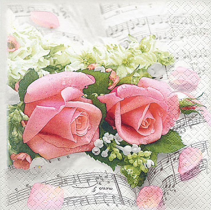 Papierservietten Flower Symphony rosa Rosen kaufen