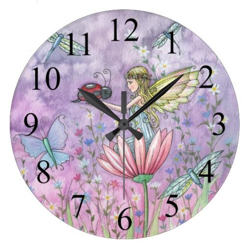 A Friendly Encounter Fairy and Ladybug Clock