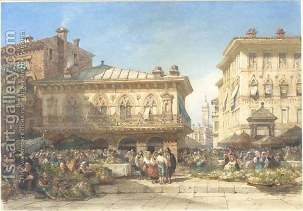 William Wyld:A flower market, Verona