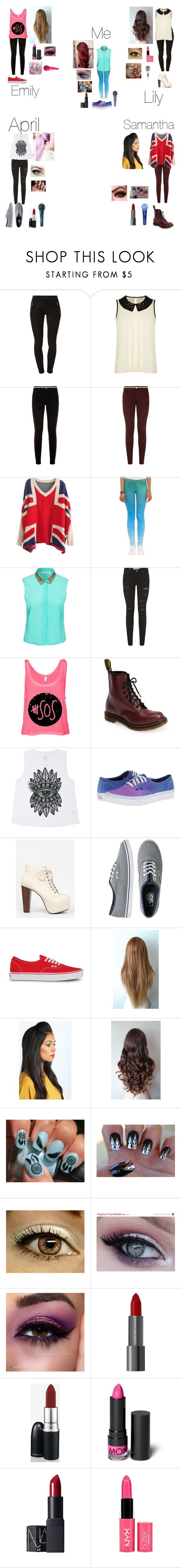 """""""Me and my band members performing Jimmy Fallon"""" by nikolestyles ❤ liked on Polyvore featuring Hudson, Darling, Monsoon, dVb Victoria Beckham, J Brand, Vero Moda, Parisian, Dr. Martens, Billabong and Vans"""
