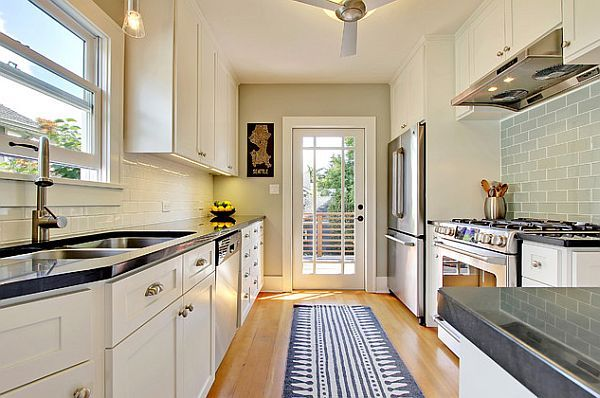 80   Traditional #kitchen design with #gray #tile #backsplash offering wide area for functionality.