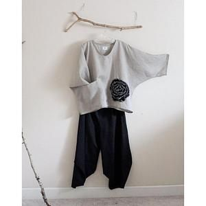 linen outfit black flower natural linen top and ninja pants-linen outfit-linen c…