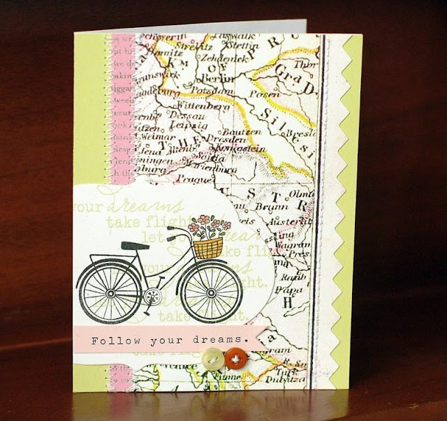 Leigh's sweet bicycle cards pulls together so many different elements #maps #stamping #cards