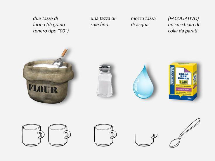 Ricetta per la Pasta di Sale 2 tazze di farina bianca di grano tenero 1 tazza di sale fino ½ tazza di acqua a temperatura ambiente 1 cucch...
