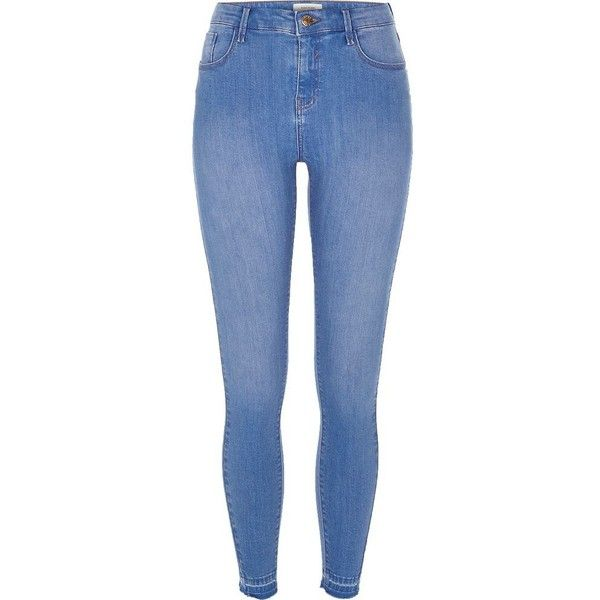 River Island Light blue wash Amelie super skinny jeans ($84) ❤ liked on Polyvore featuring jeans, blue, skinny jeans, women, denim skinny jeans, skinny fit denim jeans, tall jeans and 5 pocket jeans