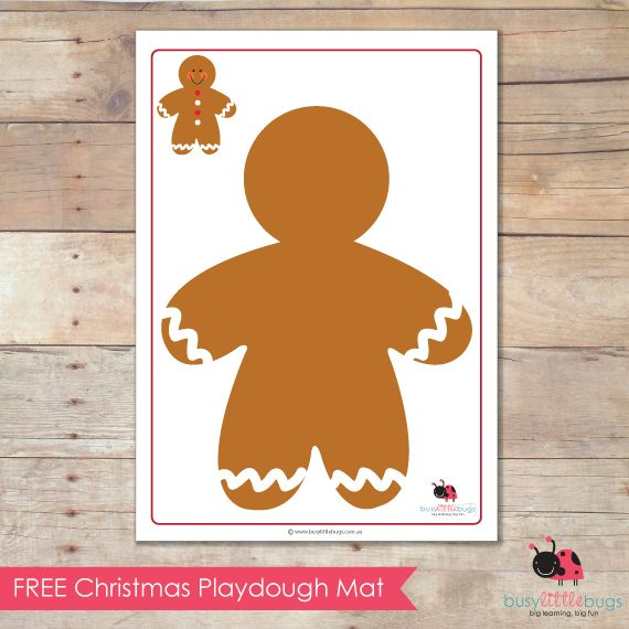 Free gingerbread man playdough mat.
