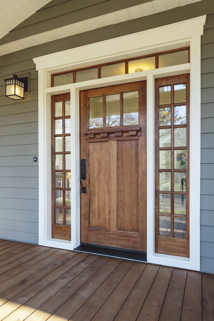 Contemporary Craftsman Wood Door With Window And White Frame