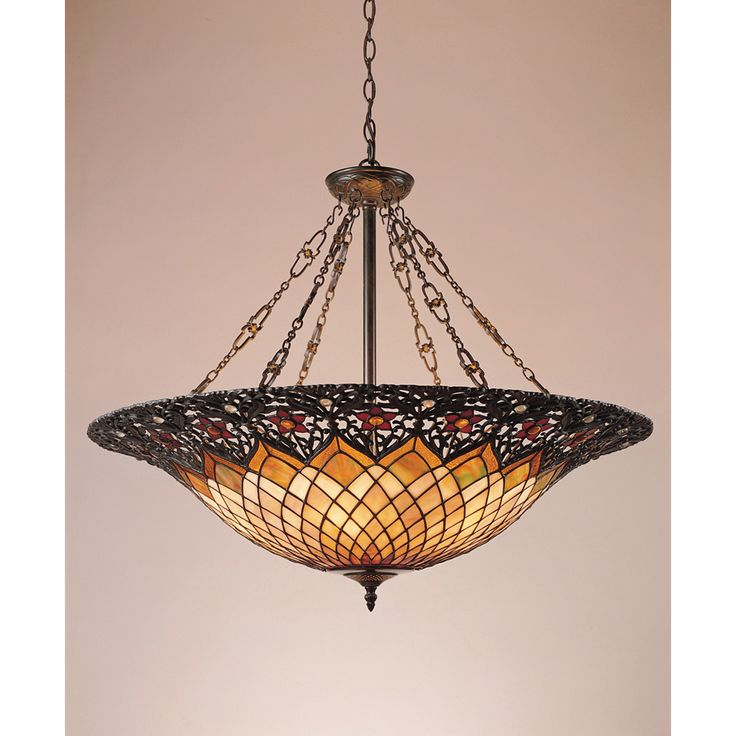 off adriana tiffany bowl pendant by quoizel make your room timeless with this refined tiffany pendant its intricate glass shade is exquisitely paired with