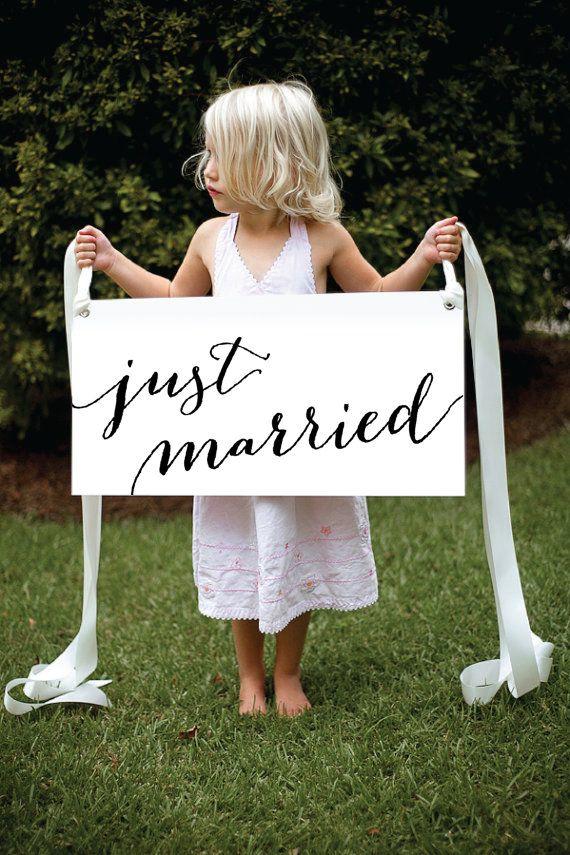 Modern Calligraphy Just Married Getaway Sign - waterproof