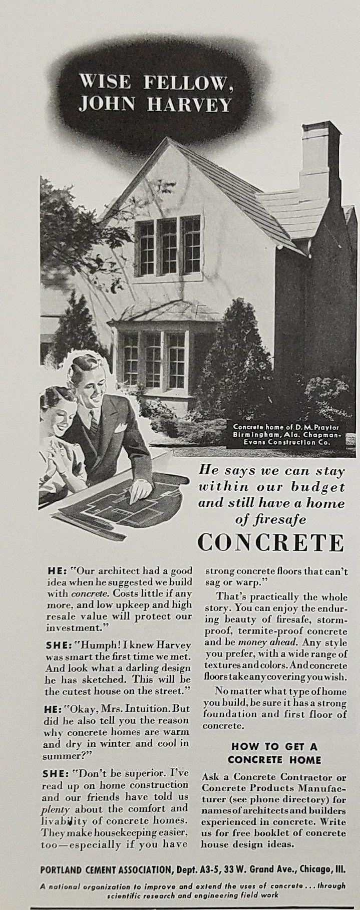 1940 Portland Cement Association Vintage Ad