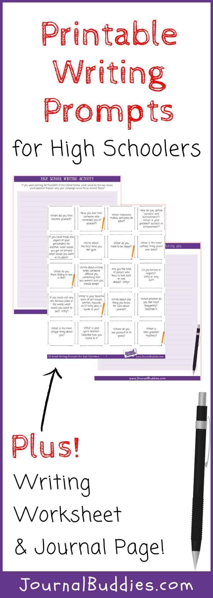 High School Writing Worksheets High School Writing Writing Worksheets Printable Writing Prompts [ 2061 x 736 Pixel ]