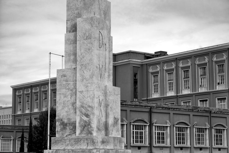 Partial view of the Academy of Physical Education (arch. Enrico Del Debbio) and the 'Obelisk of Mussolini'