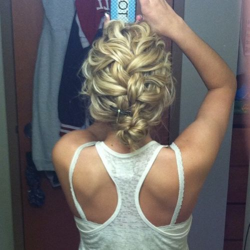 Messy French Braid Bun. This would be absolutely beautiful for wedding day hair.