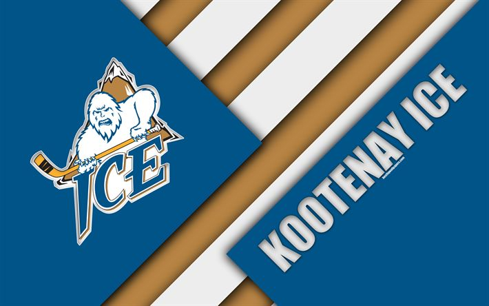 Download wallpapers Kootenay Ice, WHL, 4K, Canadian Hockey Club, material design, logo, blue brown abstraction, Cranbrook, Canada, Western Hockey League