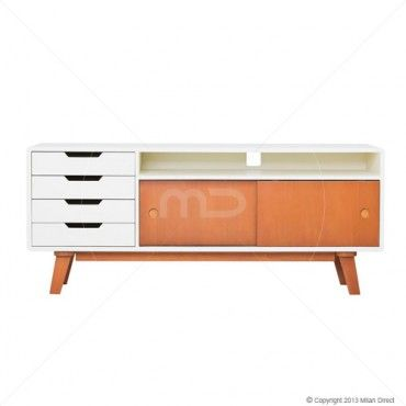Fjord Entertainment Unit - Scandinavian Furniture - Buy Danish Furniture - Mahogany - Milan Direct