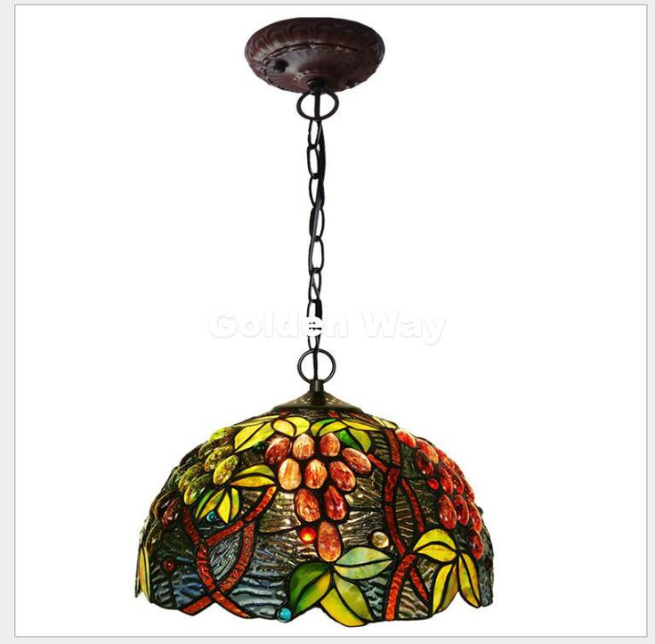 Free Shipping European Tiffany Pendant Light Baroque Style Hanging Lamp 12 Inch Stained Glass Suspended Luminaire E27 110-240V