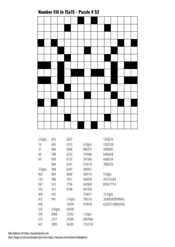 Free Downloadable Puzzle Number Fill In 15x15 52 Fill
