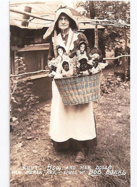 The fabulous Aunt Boo and her dolls, in Van Buren, Arkansas, home of Bob Burns.