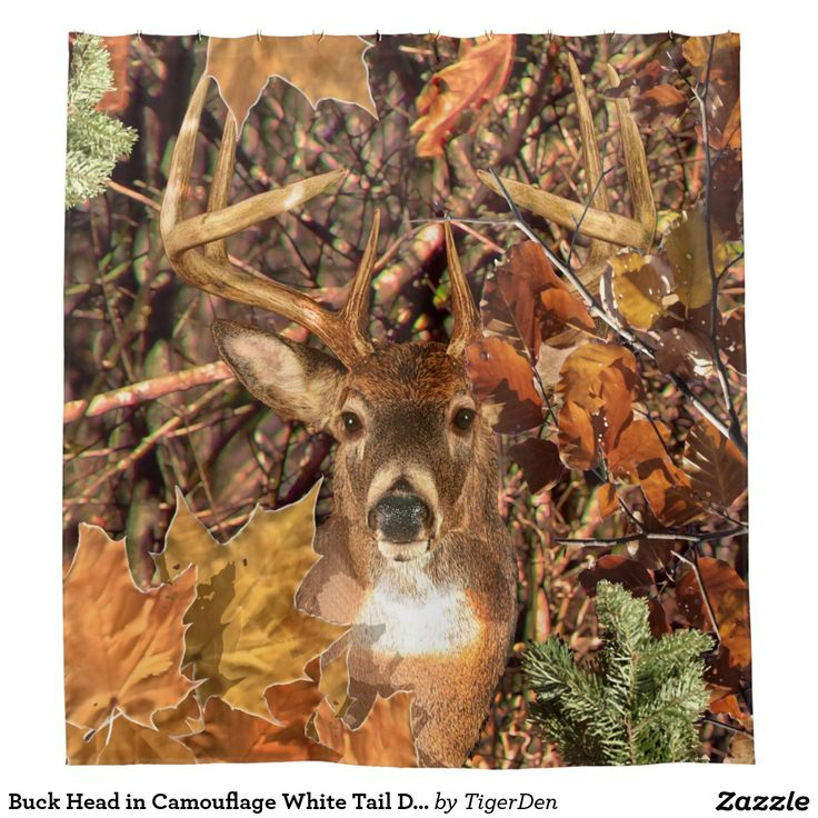 Captivating Buck Head In Camouflage White Tail Deer Shower Curtain