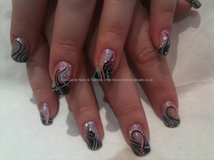 Pink, blue and black abstract nail art