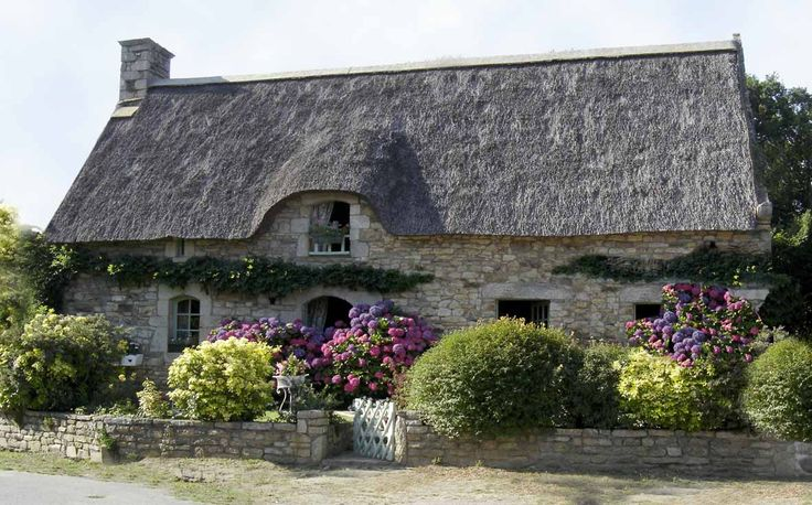 Bretagne, FRANCE  (Brittany) the houses are so beautiful there.  Hydrangeas grow like weeds. I'd move there.