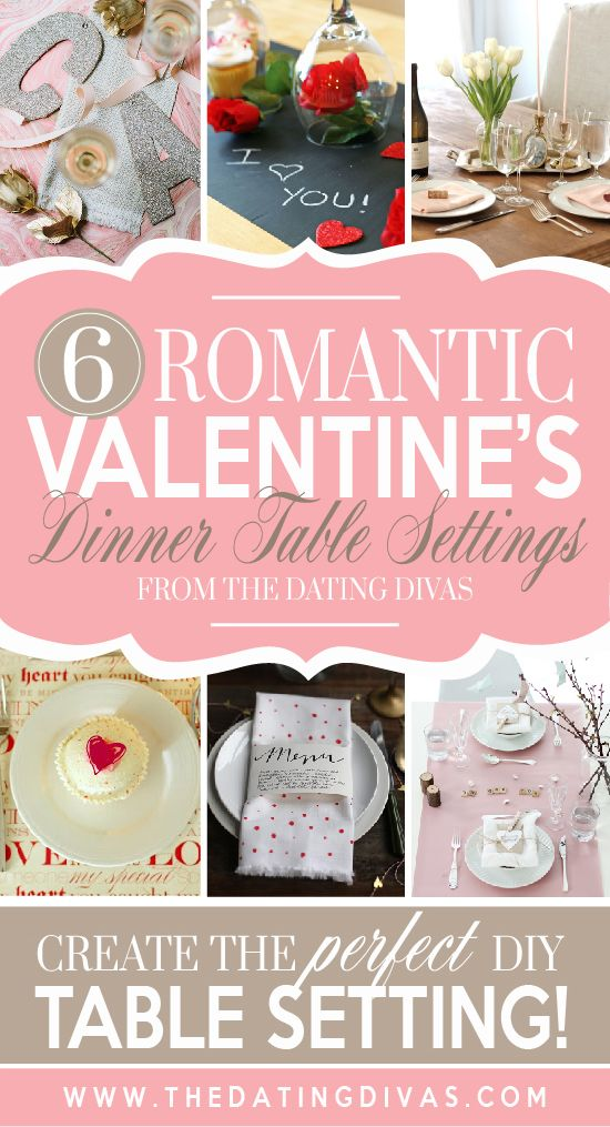 Super romantic ways to set the table for Valentine's dinner at home! www.TheDatingDivas.com