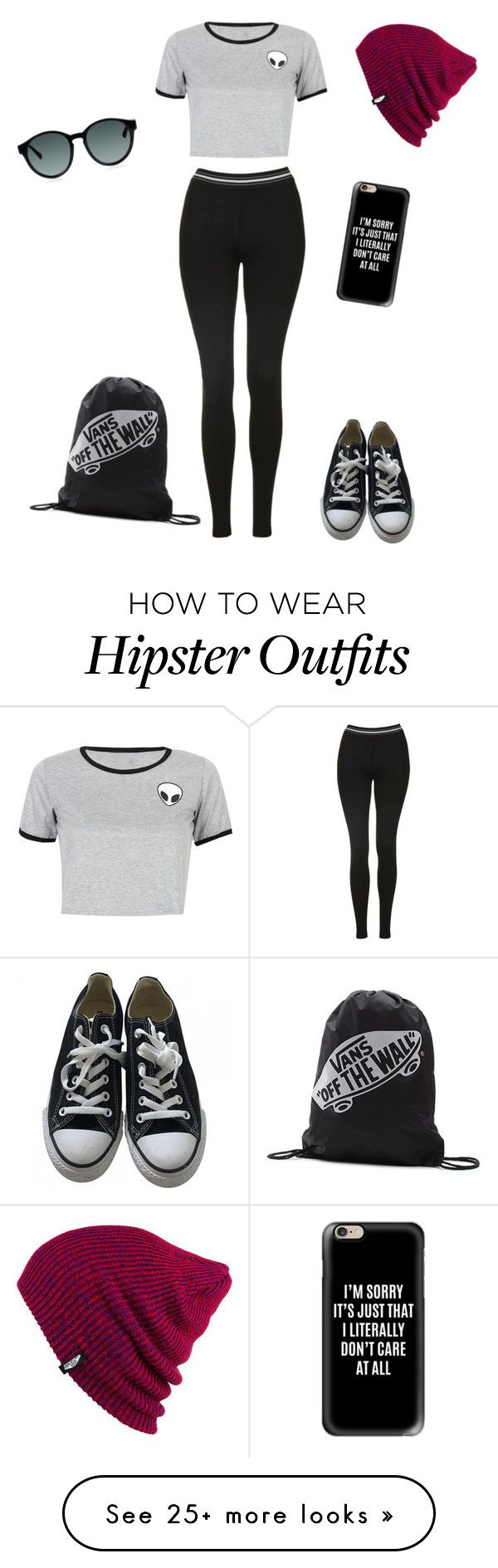 """pop punk hipster look #1"" by poppunkmess on Polyvore featuring WithChic, Topshop, Converse, Vans and Casetify"