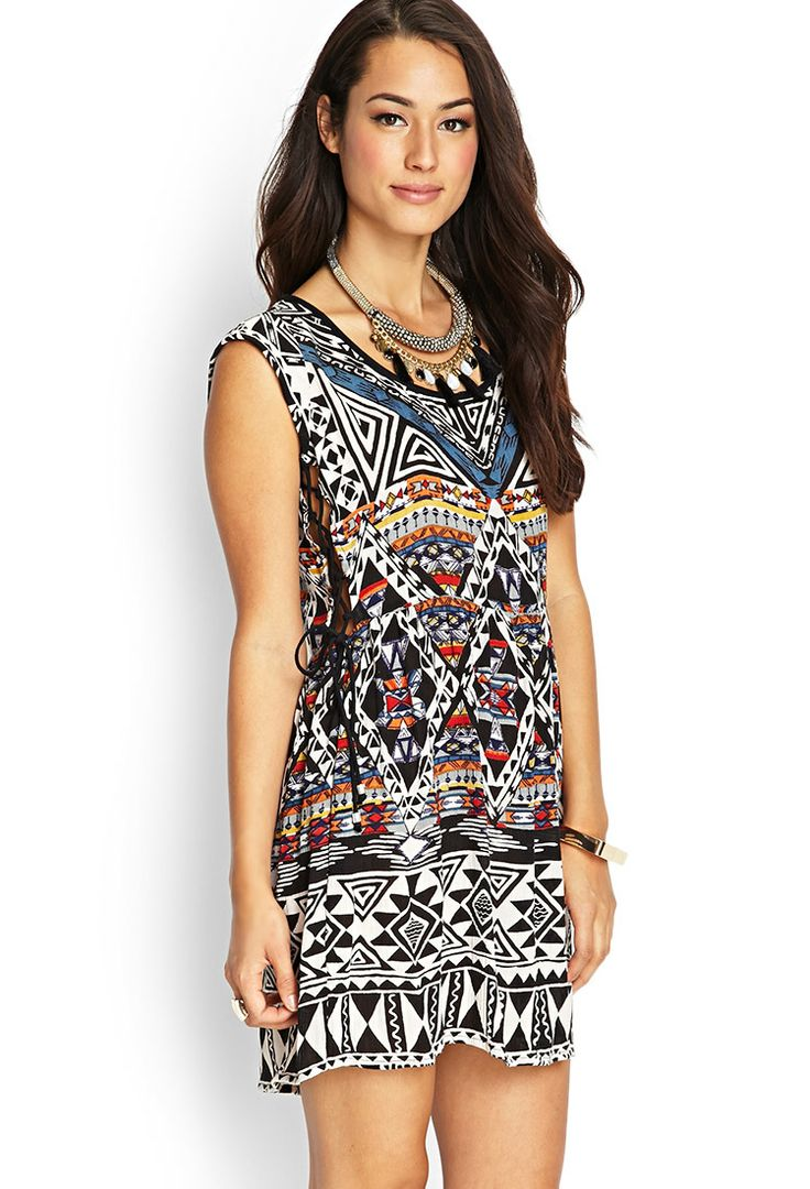 Tribal Printed Lace-Up Dress | FOREVER21 #F21Contemporary