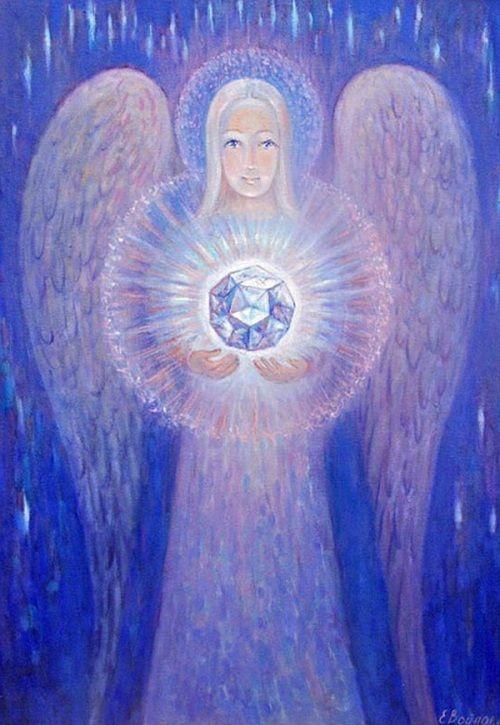 Angels in painting by Russian cosmic artist Elena Voinova-Bogoroditskaya