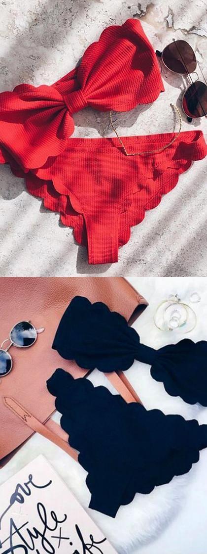 Bandeau Scallop Edge Ruched Padded Bikini Set Black/Red