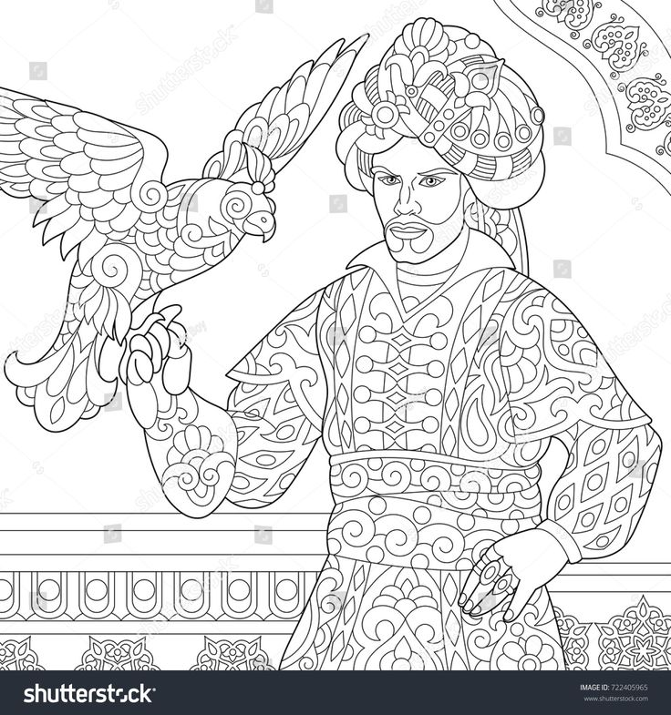 Coloring Page Of Ottoman Sultan With Hawk Falcon Bird On His Hand Arabic