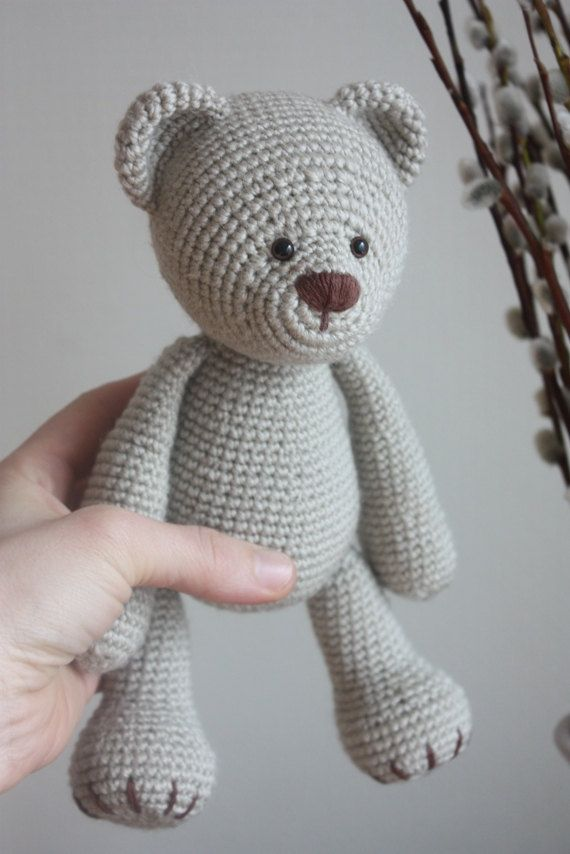 Classical Teddy Bear Crochet Pattern - Amigurumi Pattern - Instant download - Printable Named: Lucas The Teddy In English! Teddy Bear is a lifetime friend.  With this tutorial you can make a classical Teddy Bear. My Teddy Bear Crochet Pattern comes with 26 photos on 19 pages.  SIZE: with 2mm crochet hook: Approx. 23 cm/9.1 inc YARN: Worsted / 10 ply, Austermann Bambou Soft Yarn, white ones: Austermann Alpaca Silk  PS! You can use bigger hook size and a different yarn, design won´t change…