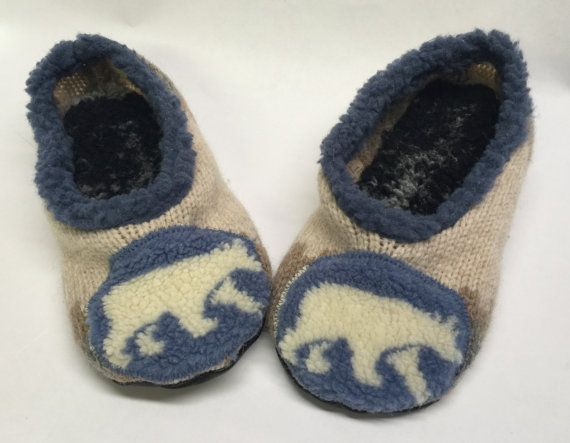 Upcycled Sweater Slippers with Leather Soles  by TheBackyardBear