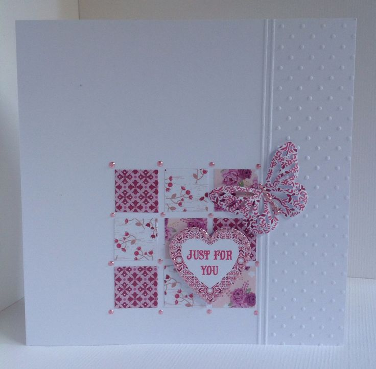 Card designed by Julie Hickey using Mistletoe 6x6 paper pad, die cuts and template. Gorgeous famine card with little squares and punched butterfly on an embossed dotty card blank.