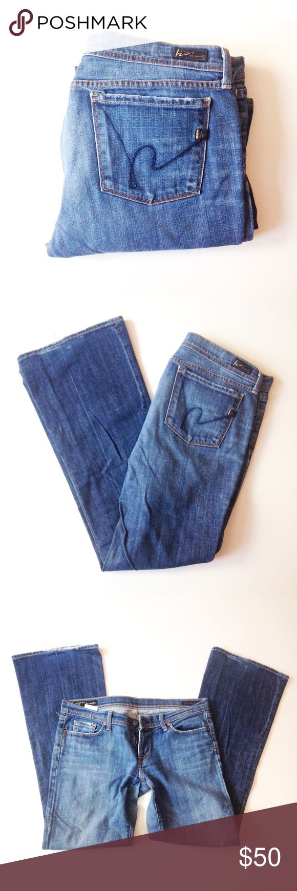 🎈1 HR FINAL SALE🎈CITIZENS OF HUMANITY  flare Soft, faltering, classic. Inseam appx 33, rise appx 8, waist laying down appx 18. The bottom of the jeans is a little bit distressed. Thank you for visiting my closet. Please feel free to ask any questions. I am here for you. :) 99% of the time I ship the next day. :) Citizens of Humanity Jeans Flare & Wide Leg