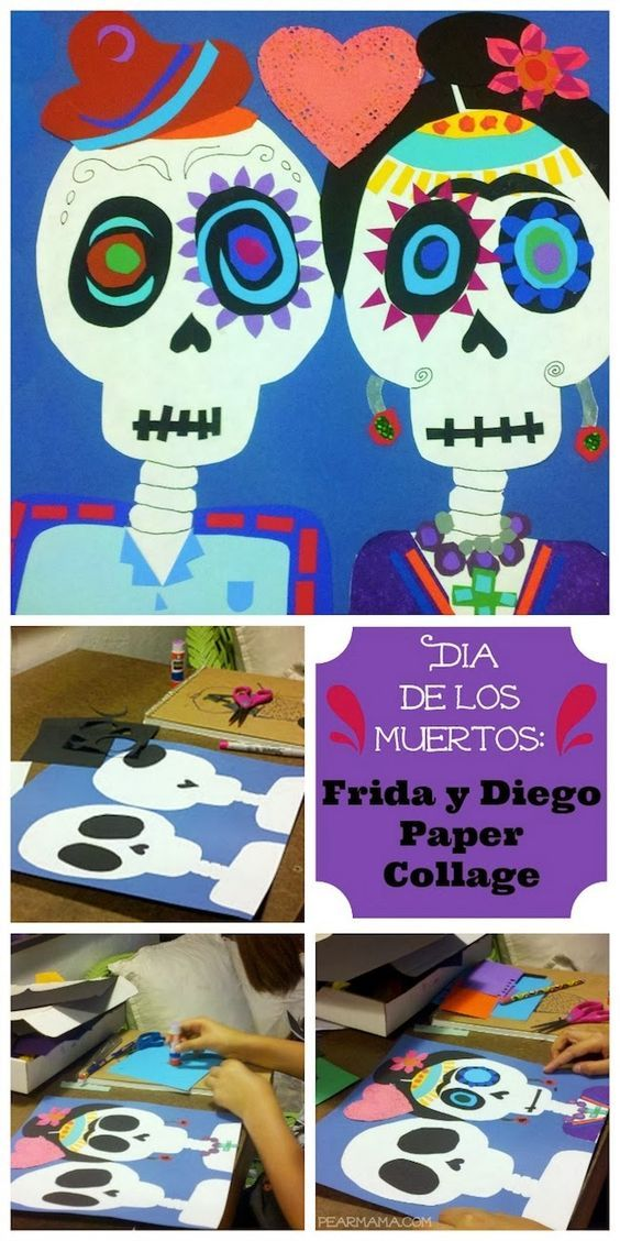 Modern Art 4 Kids Día de los Muertos Calavera Collage paper collage  tutorial for Day