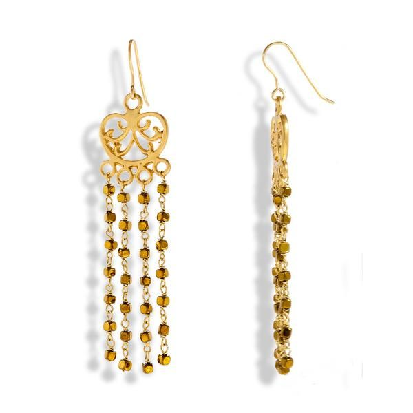 Golden Falls  Handmade Gold Plated Silver Long Chandelier Earrings With Gold Hematite - Anthos Crafts - 1