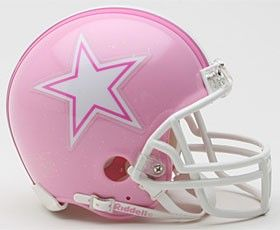 Most everyone who knows me knows I AM NOT a football fan; however, I really like this pink helmet, it's cute. I think they should all wear pink helmets.