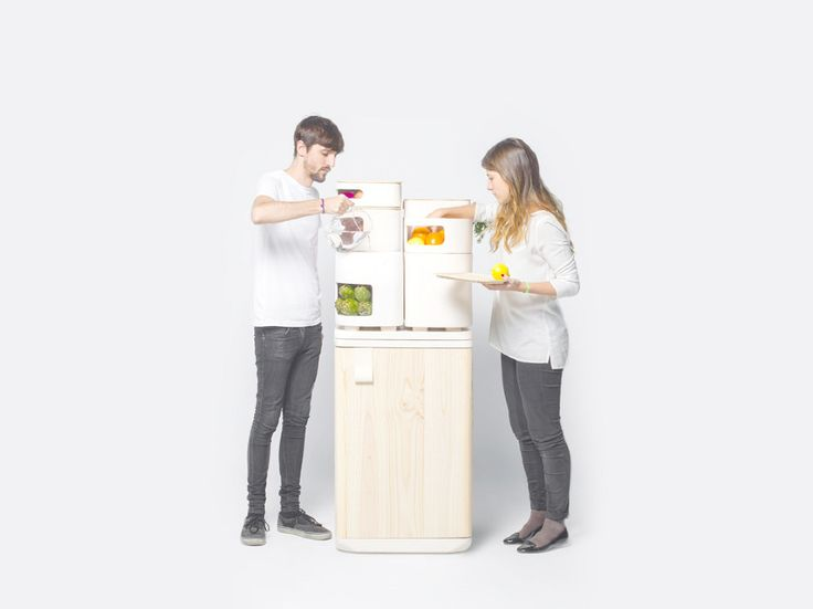 OLTU Fridge by Fabio Molinas  A new concept of fridge that keeps fruits and vegetables better and for a longer time through ceramic containers that use the heat emitted from the refrigerator in the bottom to provide the ideal temperature and humidity for these foods.