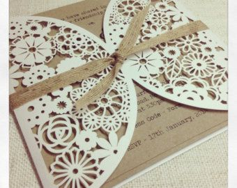 Peony Rustic Floral Design Laser Cut Wedding by PeachWolfePaperCo