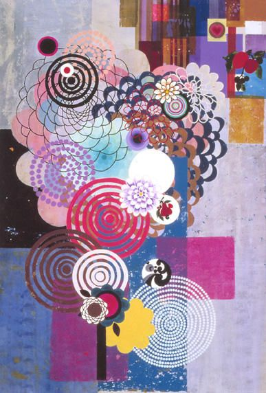 BEATRIZ MILHAZES  Periquita, 2004  Acrylic on canvas  98 1/2 x 66 3/4 inches
