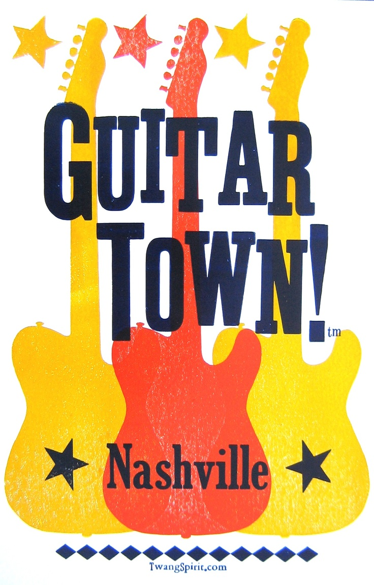 """GUITAR TOWN!™"" LetterPress Posters c. www.TwangSpirit.com ((Yes, Nashville is Home to ALL Kinds of Music! So, If the ""Suits"" wanna change our City's 'Symbol' to a ""Musical Note"" -- Whatever...But Let's Face It Folks: Nashville Will ALWAYS Be ""Guitar Town""!!!: Faces, Auction Posters, Town Letterpresses, Guitar Illustrations, Art Inspiration, Music Nashvil, Guitar Posters, Guitar Town 8482, Letterpresses Posters"