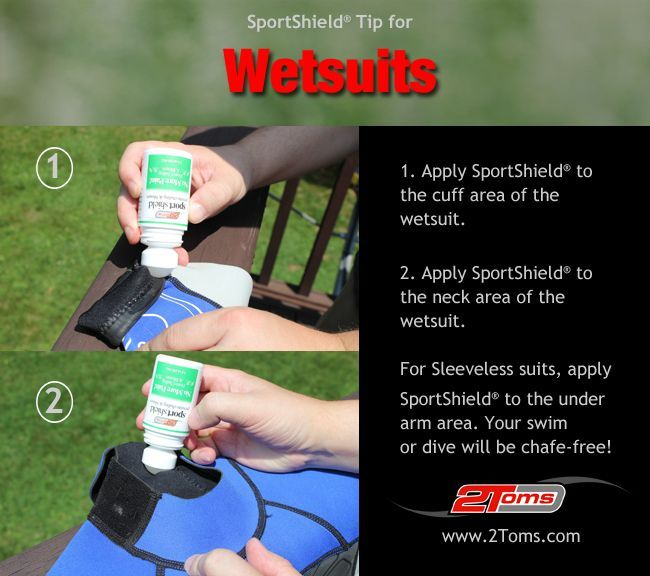How to prevent chafing from Wetsuits. 2Toms SportShield prevents skin chafing. #surfing #diving #watersports www.2toms.com/