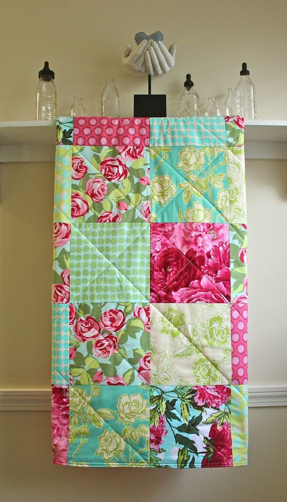 Baby Quilt Girl Red Roses Modern Floral Minky Back