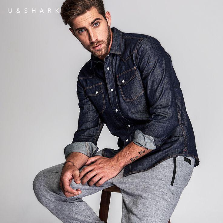 2016 U&Shark Italy Style Long Sleeve Denim Shirt Men Slim Fit Brand Chemise en Jean Luxury 100% Cotton Casual Shirt Jeans Male