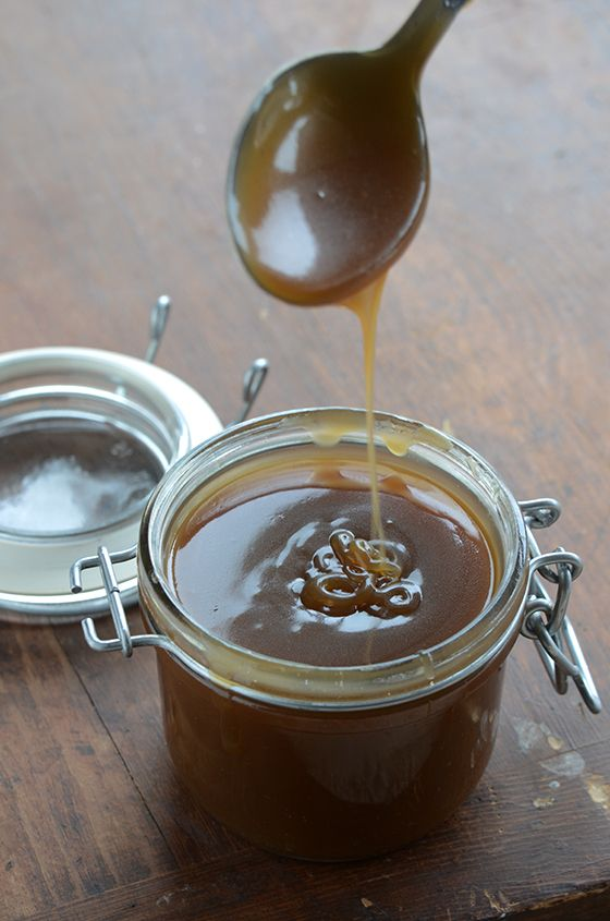 Salted Coconut Caramel Sauce 1 (14 oz/400 g) can full-fat, unsweetened coconut milk 1/4 cup (60 ml) pure maple syrup or honey 1/4 cup (50 g) coconut palm sugar 1 teaspoon pure vanilla extract 1/2 teaspoon coarse sea salt 1 tablespoon unsalted butter