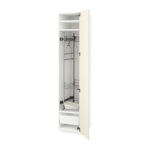 METOD / MAXIMERA Mobile alto con accessori pulizia - bianco, Hittarp bianco sporco  - IKEA