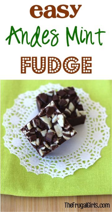 Easy Andes Mint Chocolate Fudge Recipe! ~ from TheFrugalGirls.com ~ just 3 ingredients and you've got such a delicious dessert! #recipes #thefrugalgirls